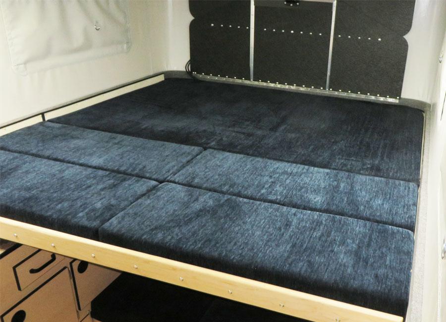 Blue Interior Cushion Fabric Four Wheel Popup Camper Four Wheel